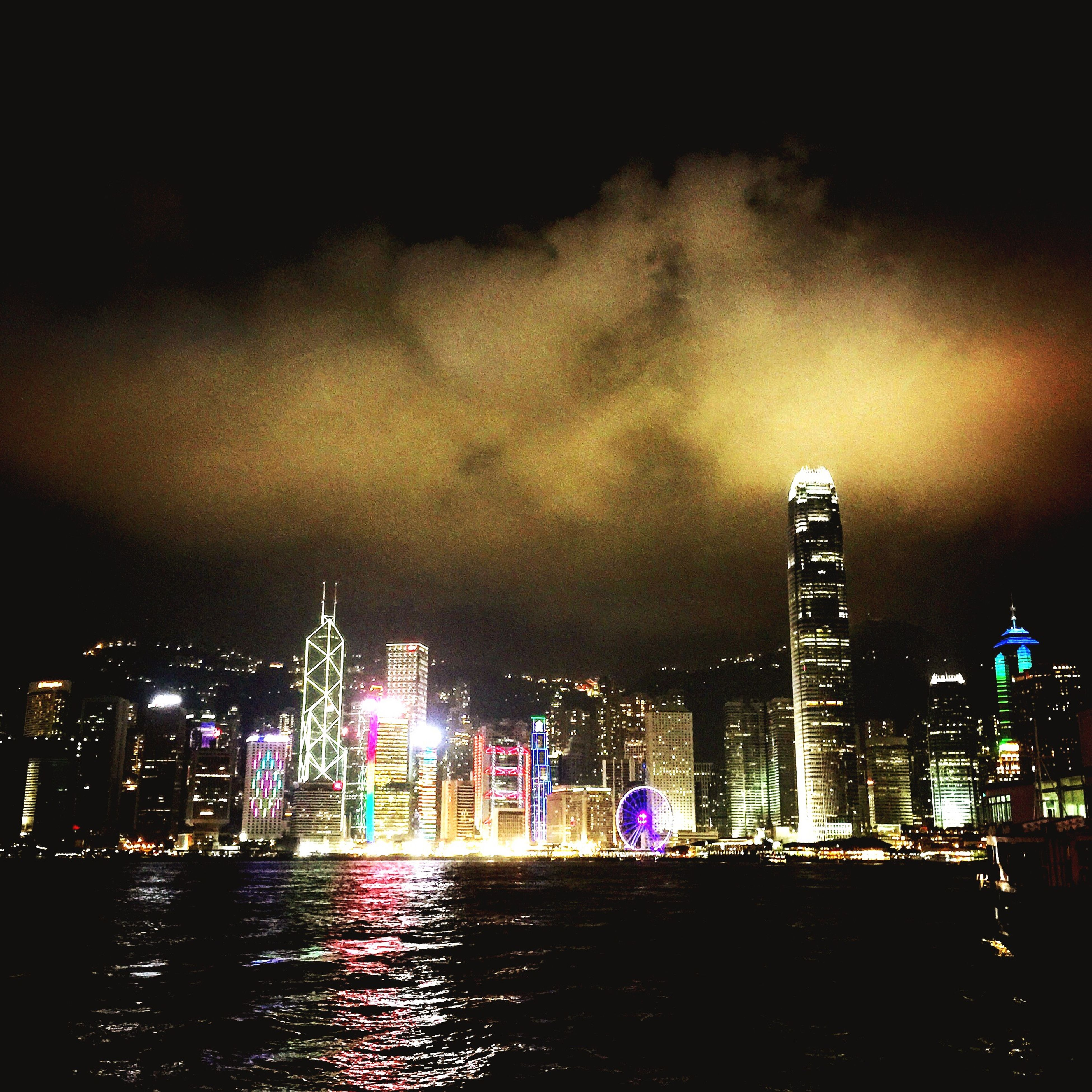 illuminated, city, building exterior, architecture, night, skyscraper, built structure, cityscape, water, waterfront, urban skyline, tall - high, modern, tower, sky, office building, river, financial district, capital cities, travel destinations