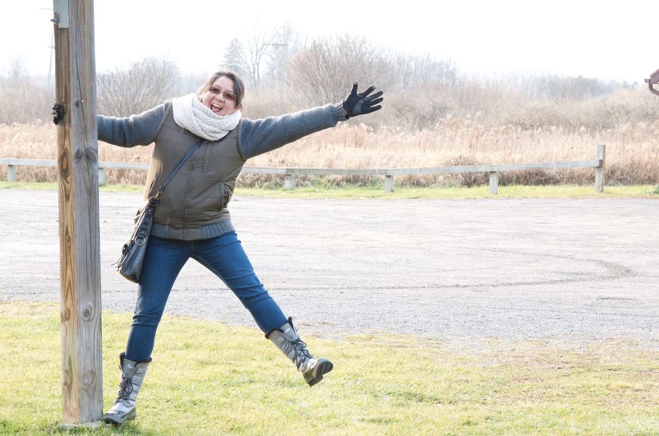 National Wildlife Refuge, NY. Arms Outstretched Fun Happiness One Person One Woman Only Outdoors People Smiling