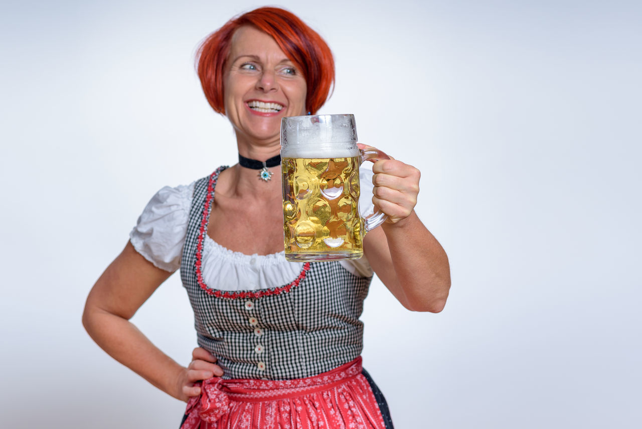 Adult Adults Only Alcohol Beer - Alcohol Beer Glass Drink Drinking Glass Gold Colored Happiness Holding One Person One Woman Only Only Women People Portrait Refreshment Smiling Standing Waist Up White Background Women