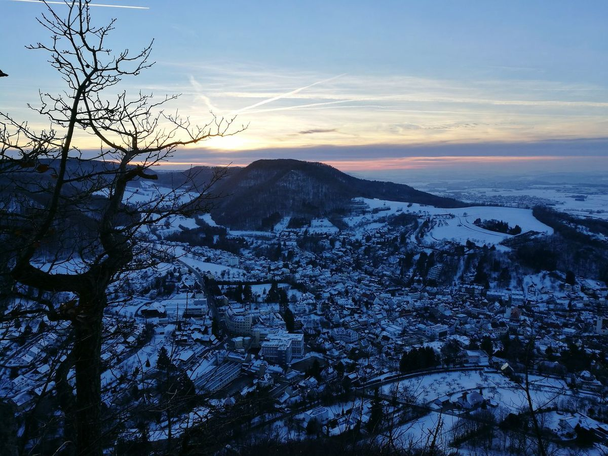 Nature Beauty In Nature Sunset Winter Tree Landscape Outdoors Heubach Rosenstein Outdoor Photography Snow ❄ Cloud - Sky Cold Temperature Sky Town In Winter TOWNSCAPE Town