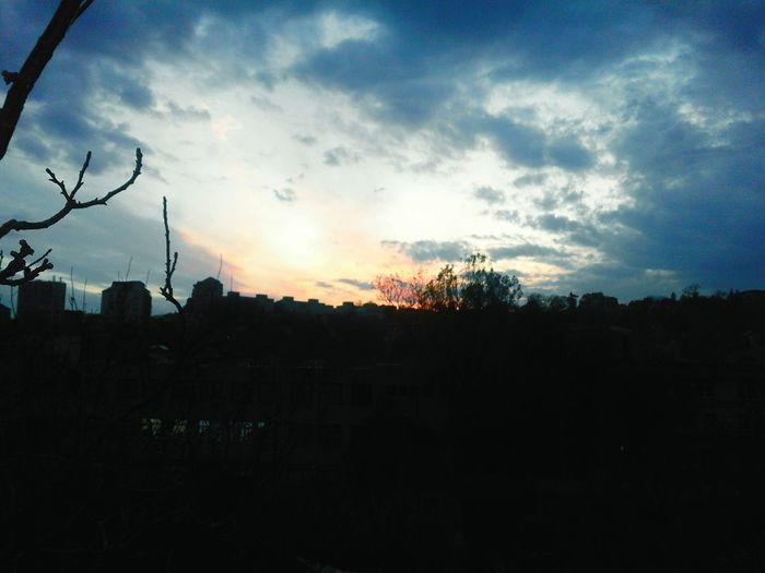 Sunset Sky Cloud - Sky Tree Dramatic Sky Silhouette Outdoors City Building Exterior First Eyeem Photo