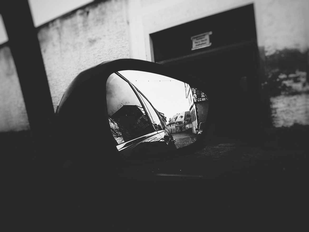 Silhouette No People Day Close-up Outdoors Black And White Collection  Black And White Photography Blackandwhite Black&white Part Of Part Of Car Mirror Look Back Car Buildings