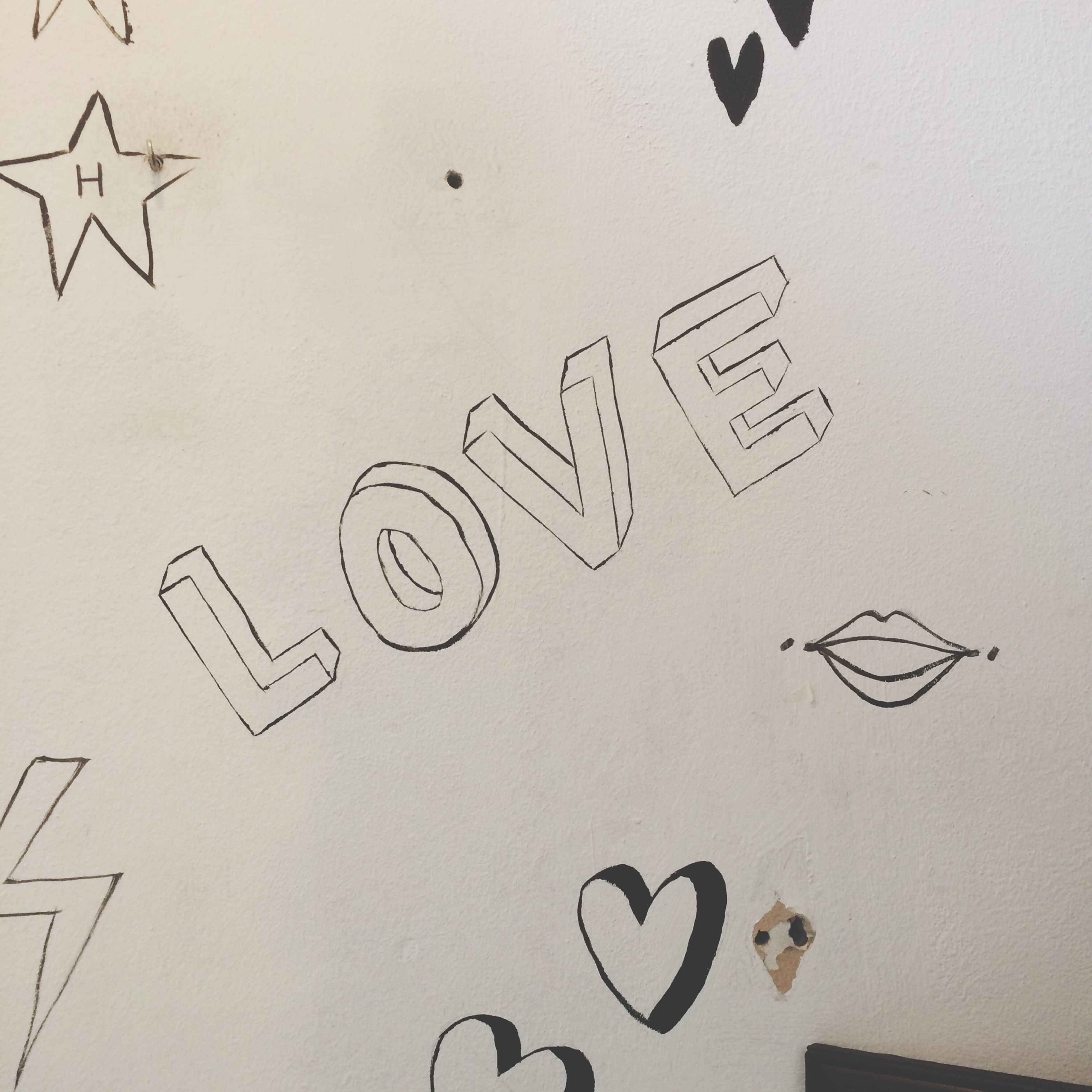 text, western script, communication, paper, capital letter, indoors, message, creativity, art, handwriting, close-up, art and craft, wall - building feature, love, number, information, non-western script, wall, full frame, ideas