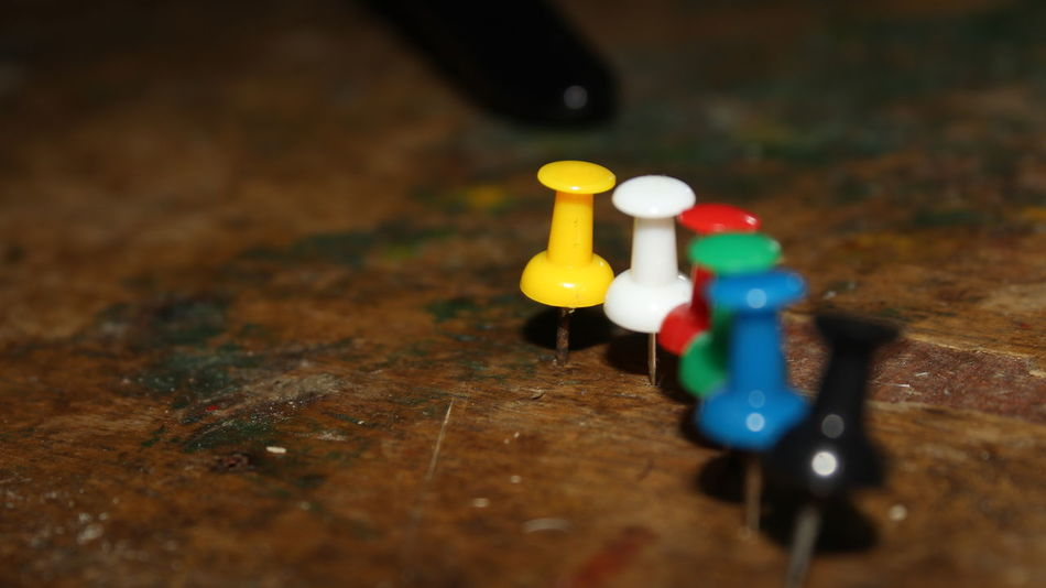 Pinterest Close-up Day High Angle View Indoors  Leisure Games No People Office Supply Pushpins Selective Focus Table