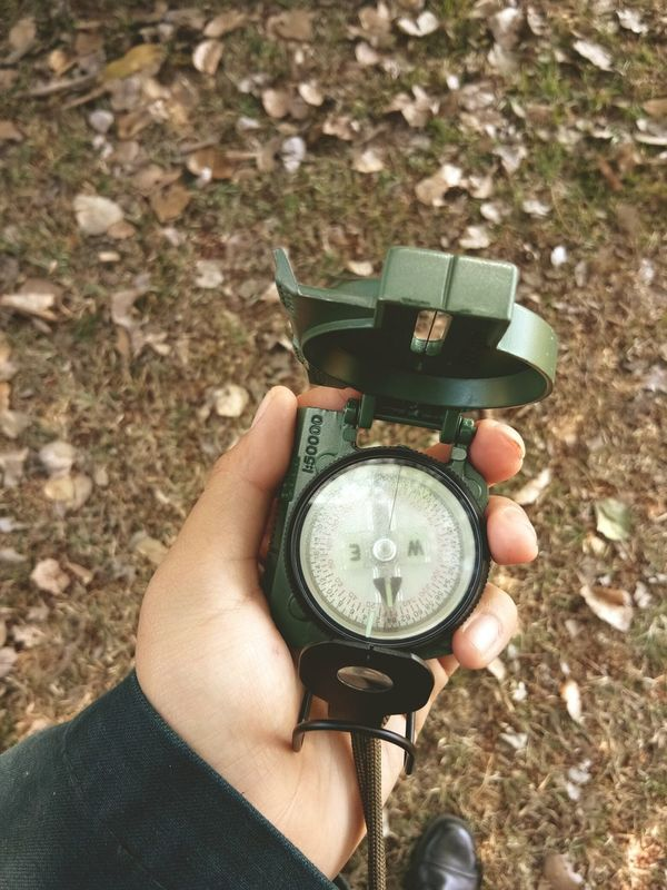 One Person Holding Outdoors Time Leisure Activity Map Compass Thailand