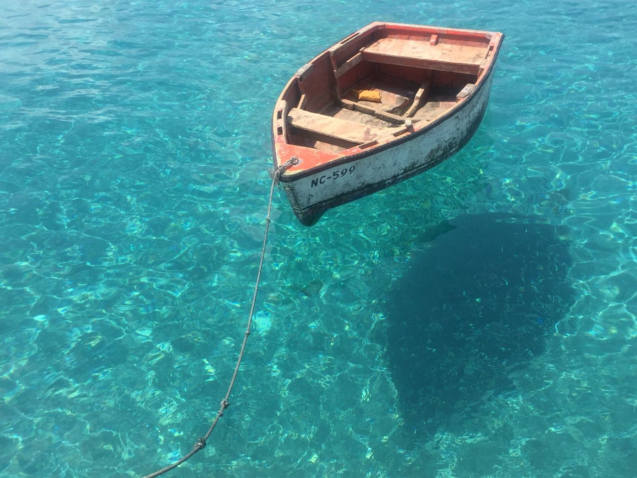 This Is It. Paradise Boat Carribean Ocean Clear Water Blue Playa Grandi Curacao The Purist (no Edit, No Filter) IPhoneography