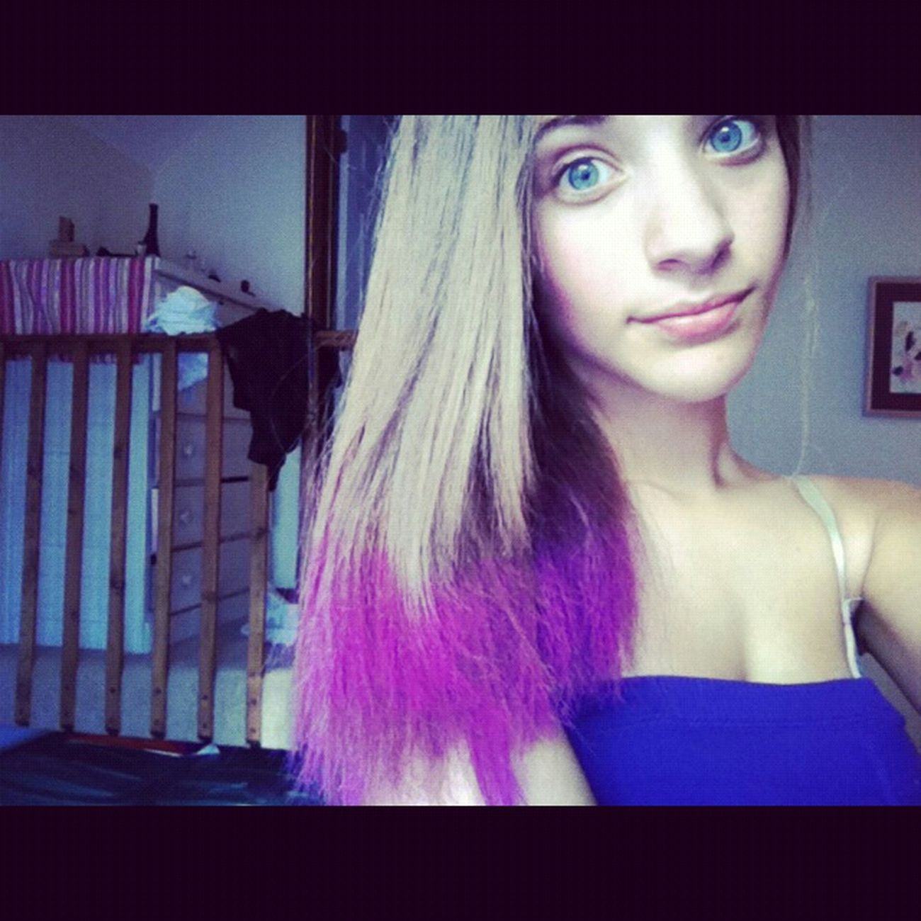 purple hair for football game. #tb