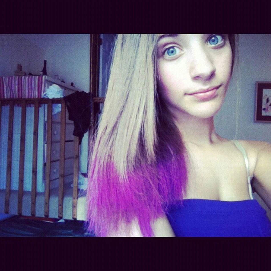purple hair for football game. #tb