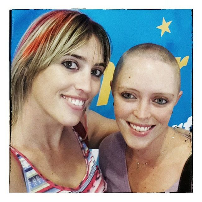 Dyed and shaved for Cansa! Sisters Shavathon Doinggood Proud support selfieSaturday