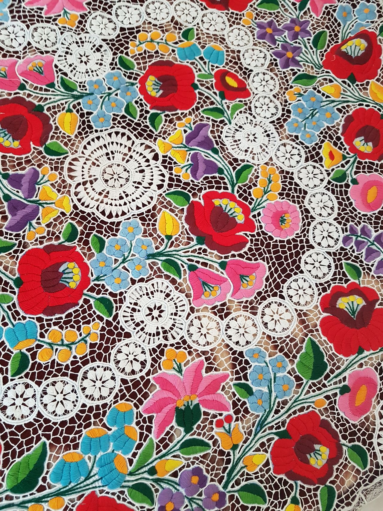 """Kalocsai"" pattern from Dusnok, Hungary. Multi Colored Kalocsa Pattern Embroidery Cloth Flowers Colorful Countryside Hungary Hungarian Tradition"