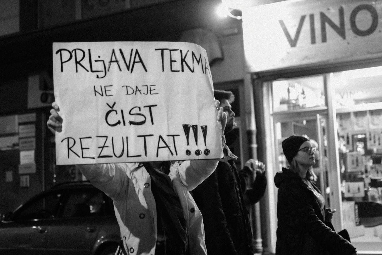 Peaceful protests in Novi Sad, Serbia. Thousands of protesters took part in demonstration against the suspicious victory of the Prime Minister Aleksandar Vučić . Our media refuses to speak about this and ignores it completely, so we are trying to spread the world on other social media platforms. The demonstrations are happening every day, in multiple cities across the country. Banner - Sign News Pay Attention Politics Protest Protest Protesters Serbia Text The Week On Eyem