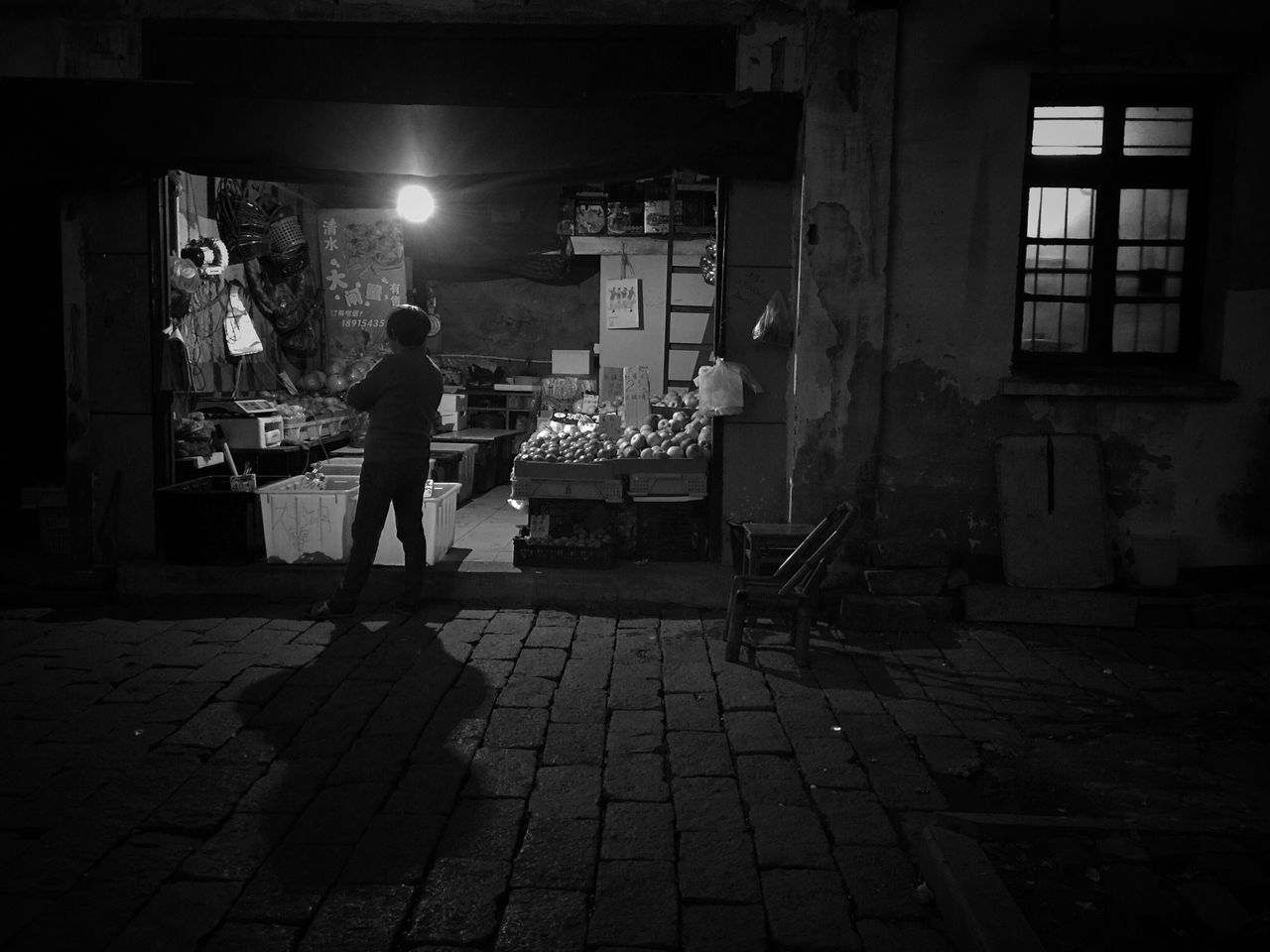 Night Real People One Person Women Bnw Old Daily Life Still Life Bnw_life My Black & White Photography Streetphoto_bw EyeEm Gallery Eye4photography  EyeEm Taiwan Streetphotography Street Photo Blackandwhite Night Lights For Sale Selling Night View Small Business Standing Street Photography The City Light