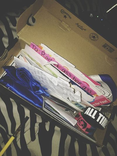 A box that contains whole lot of random objects that were a little part of my life growing up. Bracelets, tickets, pictures, letters, etc.🌞 everything just takes me back to a certain moment of my life, a little flashback⏮ idk it may be weird to you guys but I'll definitely keep adding to it and keeping it forever and ever with me as I grow up🌱it'll be like a movie. Haha I'll grow up, have a family, I'll go up to the attic to look for the files of an old cold case and as I frantically look I find this box and everything slows down as I pull out items from the mystery box and music plays and each letter and ticket consumes my mind as I have vivid flashbacks of those old days🌸