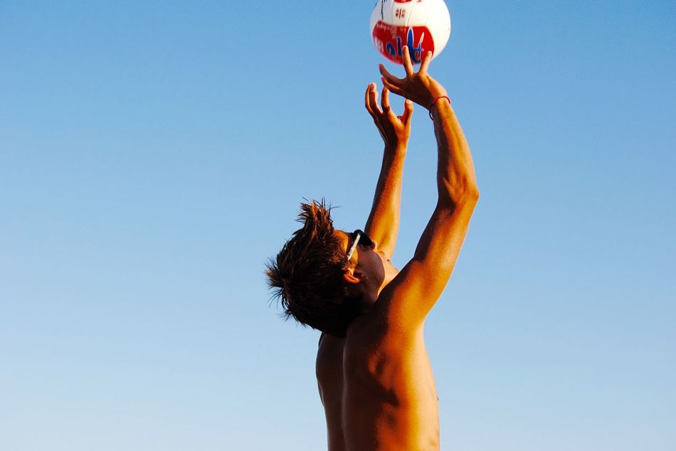 Beautiful stock photos of volleyball, Arms Raised, Blue, Clear Sky, Copy Space