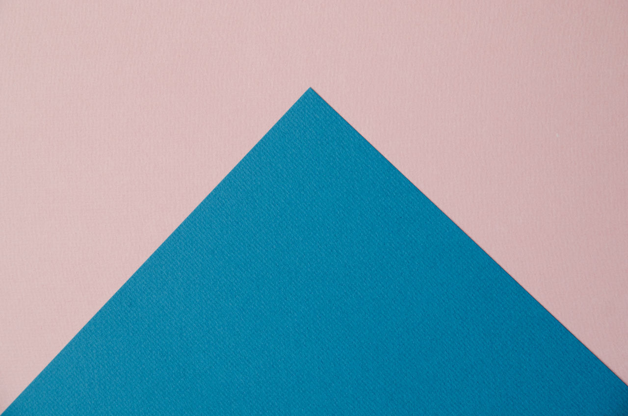 Above Abstract Arrows Backgrounds Blue Close-up Color Colorful Contrast Copy Space Full Frame No People Paper Papercraft Pink Color Textured  Textures And Surfaces Triangle Shape