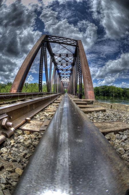 Bridge HDR Rail Railroad Railroad Tracks Sky Train Tacks Truss Bridge