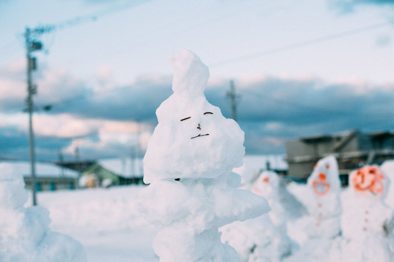 winter, snow, cold temperature, white color, weather, nature, snowman, outdoors, day, sky, no people, beauty in nature, close-up, mountain, building exterior