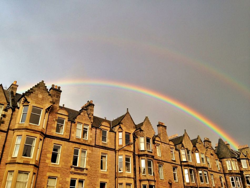 Apartment Architecture Building Exterior Built Structure Clouds Day Double Rainbow Double Rainbows Edinburgh Flat Low Angle View Nature No People Outdoors Rainbow Scotland Sky Sky And Clouds Tenements