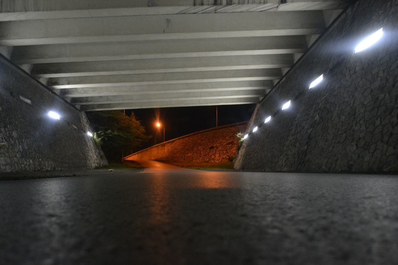 illuminated, lighting equipment, night, no people, road, the way forward, ceiling, built structure, tunnel, transportation, architecture, below, indoors, bridge - man made structure, walkway, under
