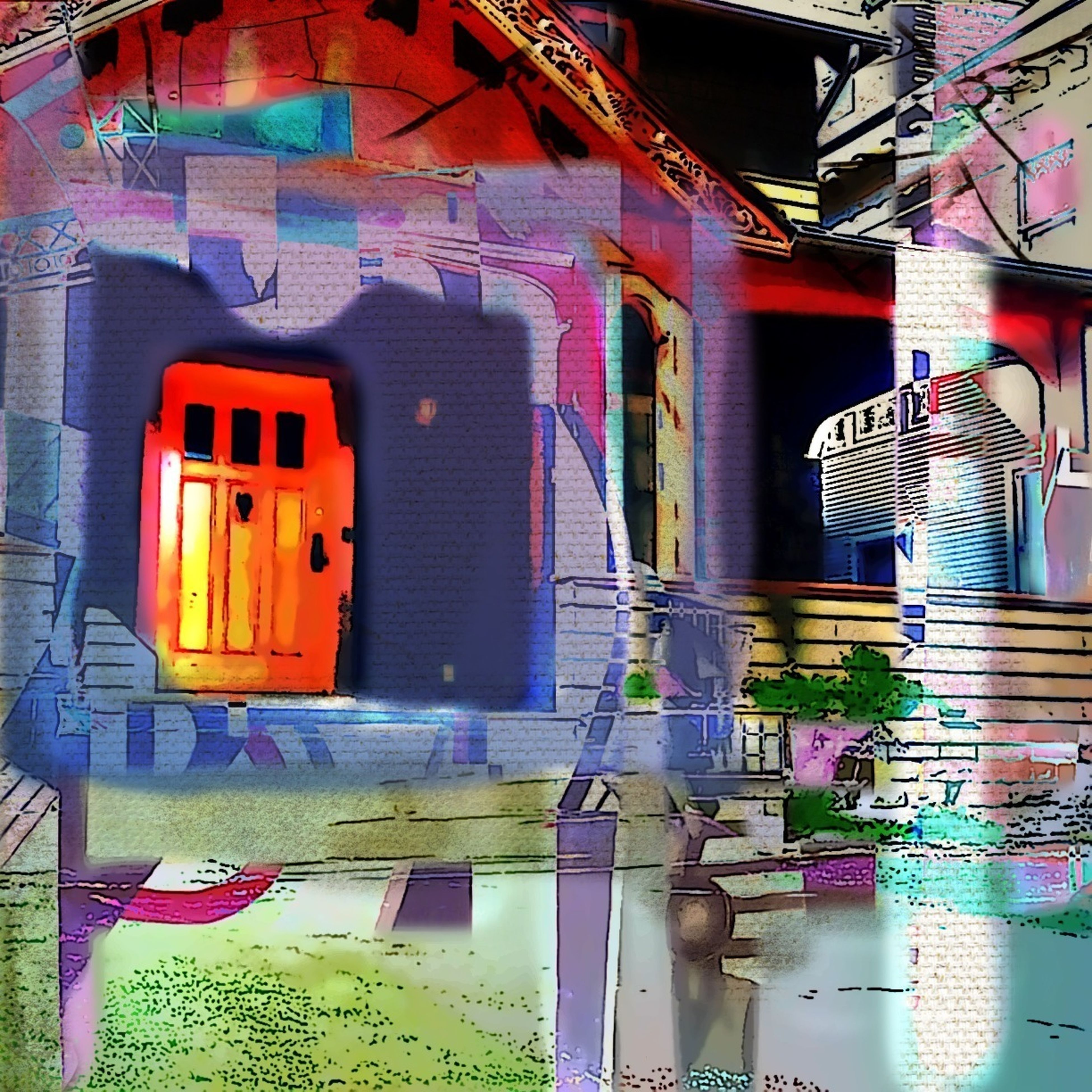 Houses And Windows Abstractions In Colors Digital Painting/Photo Collage Combo