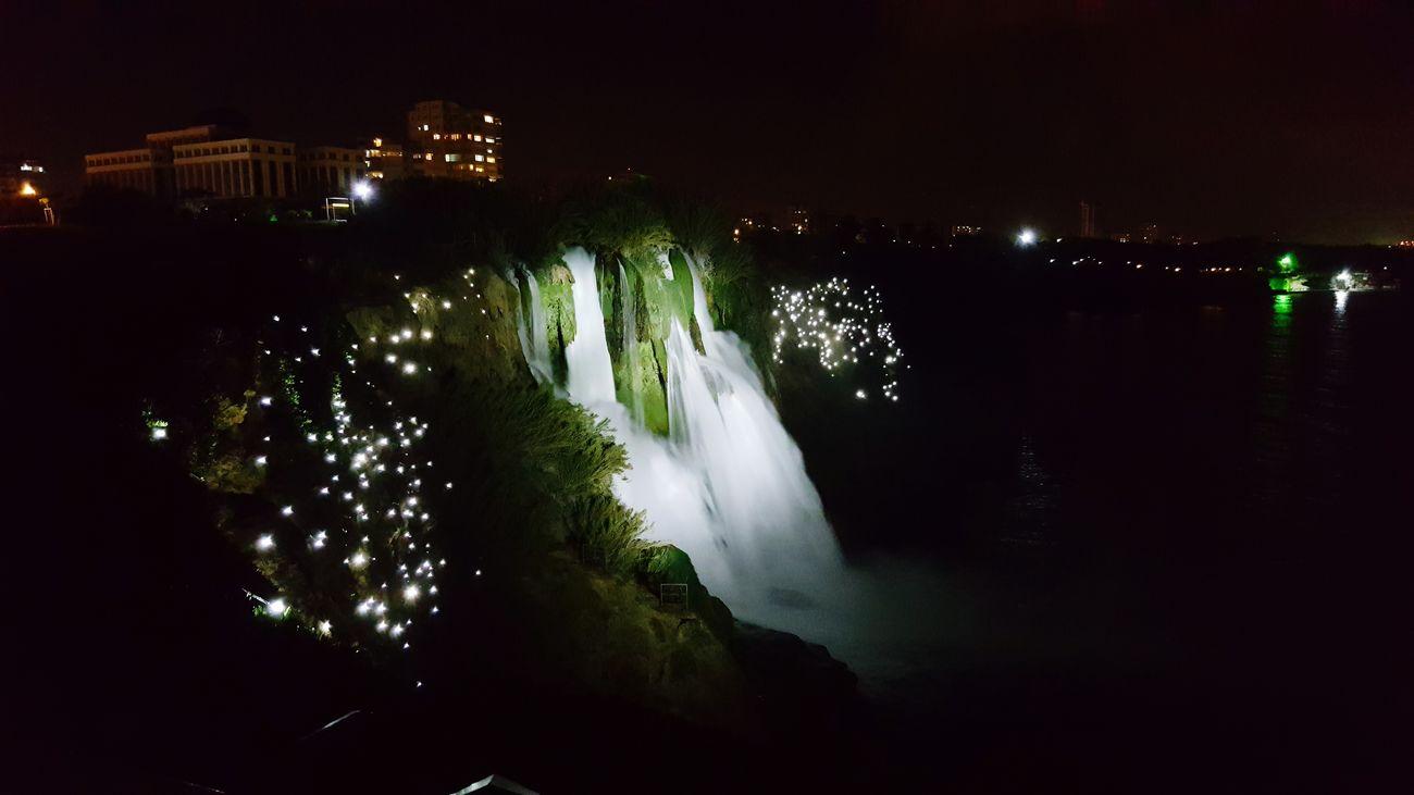 Gece Fotoğrafı Düdenpark Düdenwaterfall Düden Şelalesi