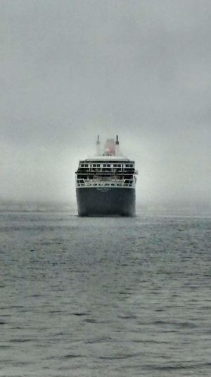 Queen Mary II leaving Halifax port Cruise Liner Fog Foggy Day Ghost Ship Halifax, Canada Leaving Port Queen Mary II First Eyeem Photo