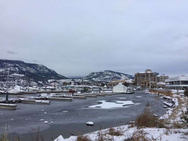 Kelowna Downtown Cold Temperature Winter Mountain Nature Outdoors Beauty In Nature Beautifulbc Snow Icy Water Sky Scenics Frosty Lake Okanagan Valley
