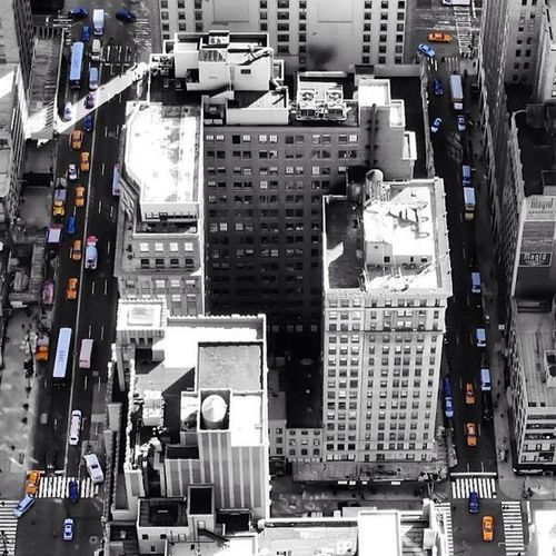 Empire State Building Colorsplash Yellow Cabs Newyorkcity