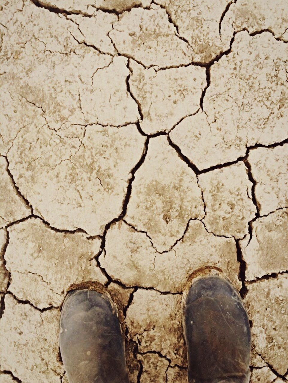 cracked, drought, arid climate, mud, land, barren, global warming, textured, human body part, directly above, environmental issues, bad condition, day, standing, one person, close-up, breaking, nature, outdoors, real people, one man only, people