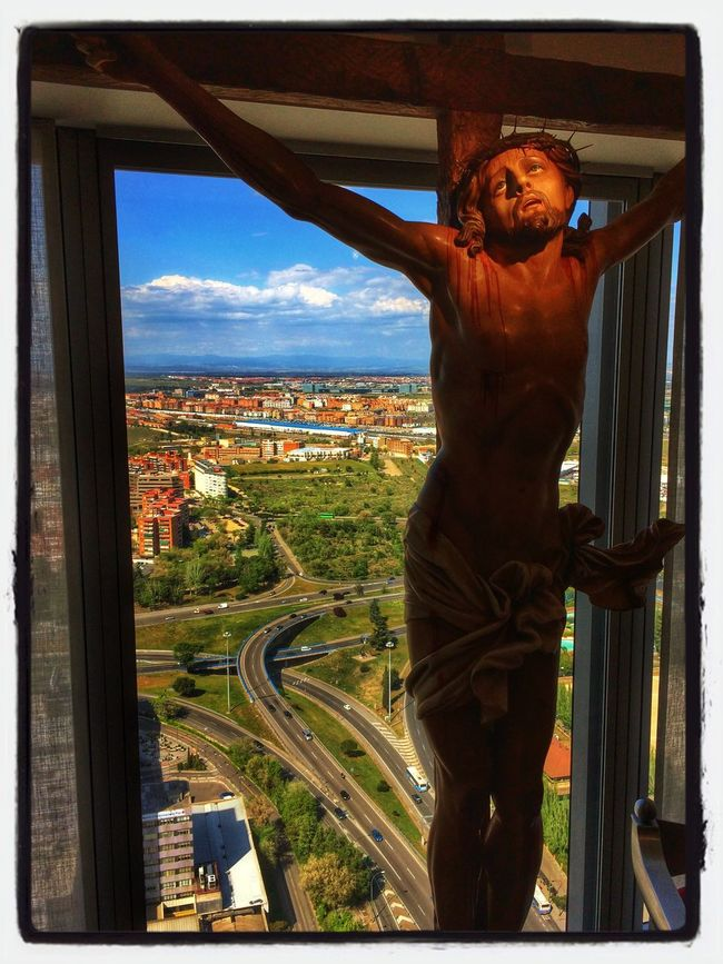 View from the highest chapel in Europe. Enjoying The View Check This Out in Las Cuatro Torres Madrid