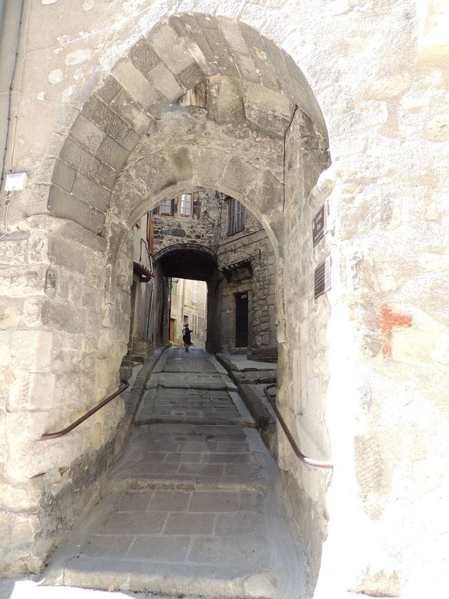 Arch Architecture Archway Bad Condition Building Exterior Built Structure Castle Damaged Day Entrance Historic History Incidental People Medieval Paving Stone Pedestrian Walkway Provence Steps The Past The Way Forward Weathered