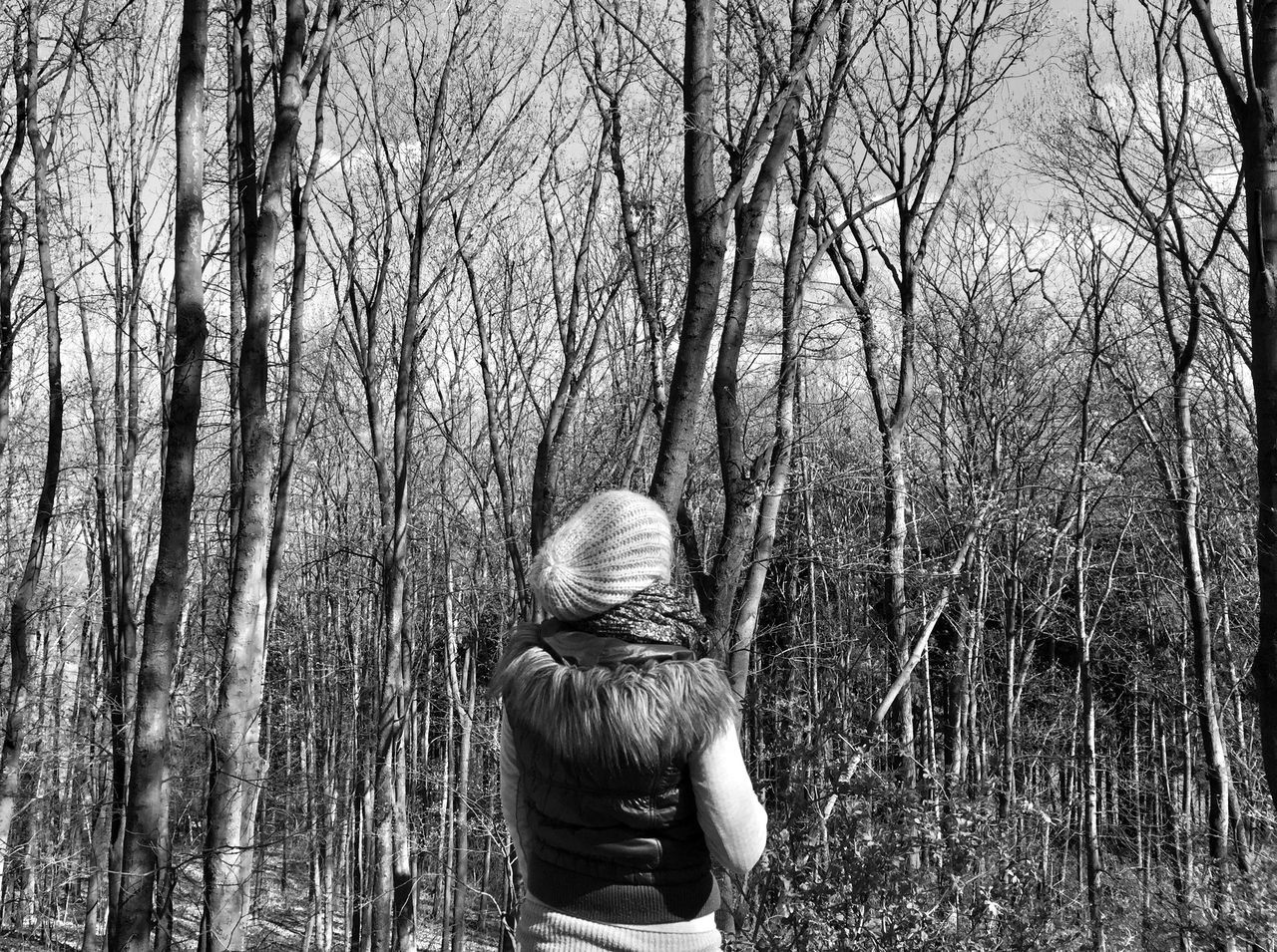 bare tree, rear view, tree, real people, one person, nature, leisure activity, branch, tree trunk, lifestyles, women, outdoors, forest, day, warm clothing, beauty in nature, people