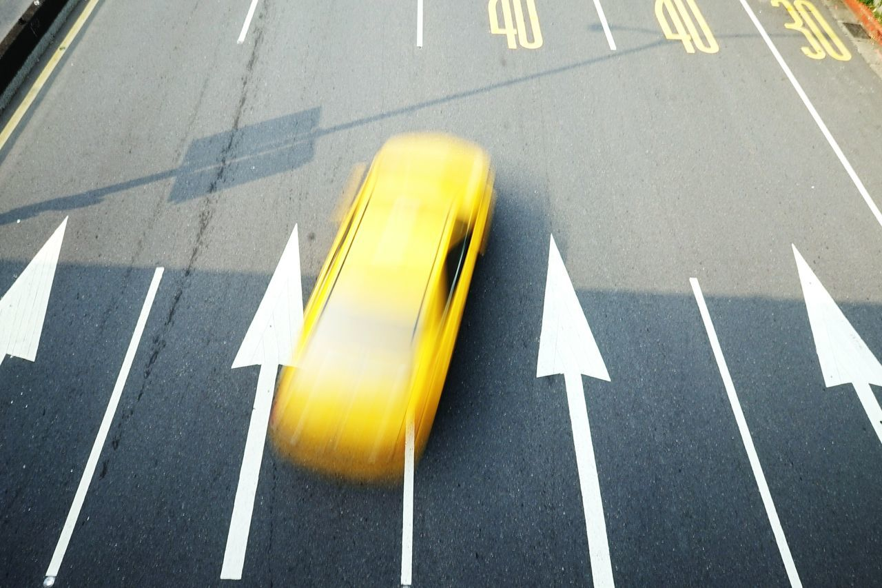 Road Marking Yellow Road Transportation Guidance Asphalt Communication The Way Forward Dividing Line Road Sign Symbol Arrow Sign On The Road Starting Line Streetphotography Flying High Taxi Cab Taxi Rush Street Direction
