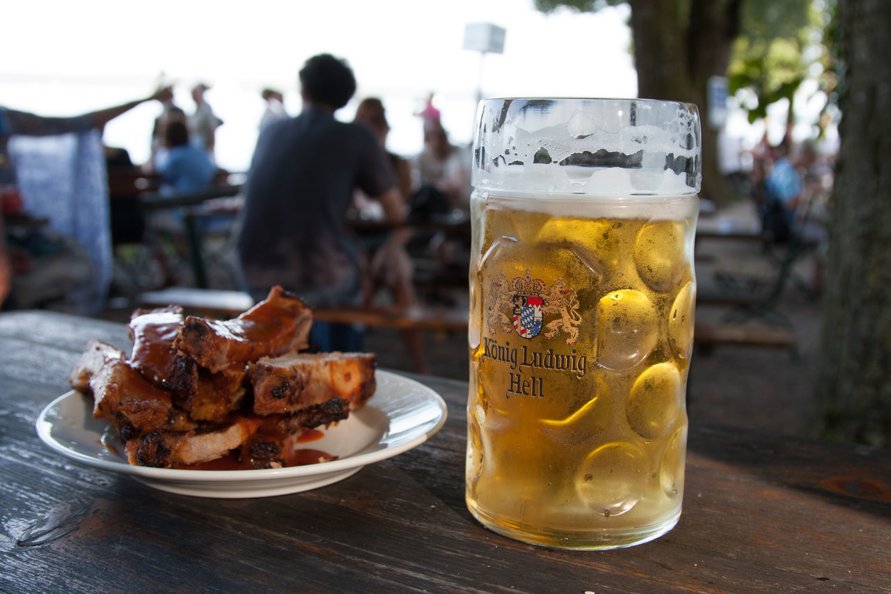 Alcohol Bavaria Beer Beer Beer - Alcohol Beer Glass Beer Mug Beergarden  Close-up Day Drink Drinking Glass Focus On Foreground Food Food And Drink Incidental People Outdoors People Plate Real People Refreshment Serving Size Spareribs Summer Table
