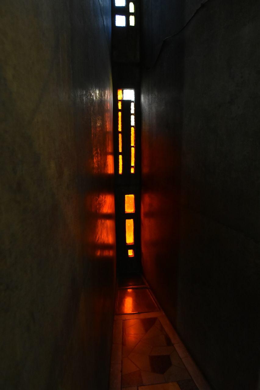 indoors, door, corridor, illuminated, built structure, no people, the way forward, architecture, night