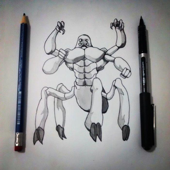 Monstruo Dibujo Blancoynegro Drawing Blackandwhite Crab Illustration Art Sketch
