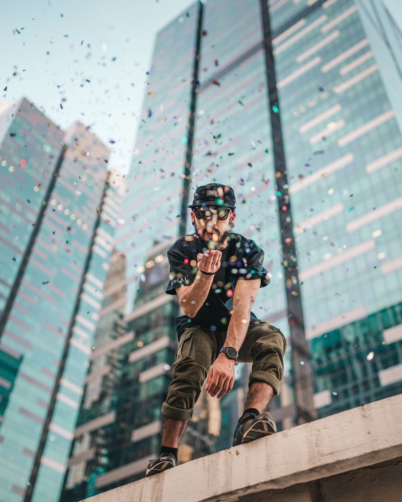 kissing 2016 goodbye Blowing Kisses Confetti Street Fashion Hypebeast  Portrait Portrait Of A Man  Portrait Photography One Man Only Singapore City City Life Architecture Roof Top Fine Art Photography Bokeh Photography