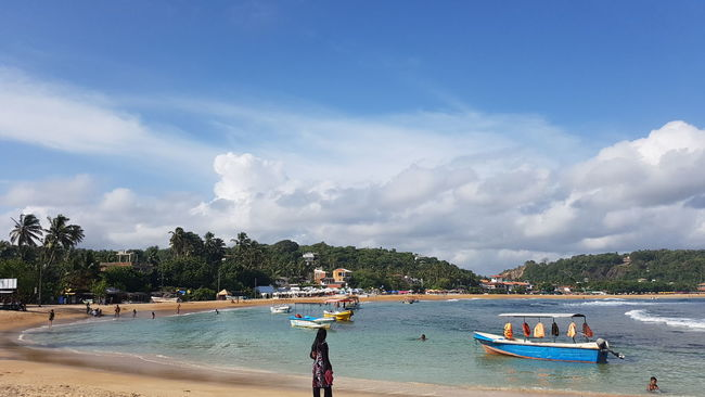Unawatuna Beach Nature Galle Sri Lanka Blue Sky Cloudy Tourist