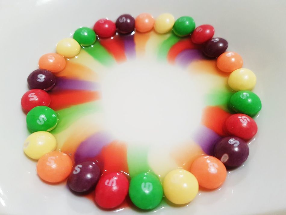 Play with your food Multi Colored Large Group Of Objects No People Variation Indoors  Close-up Sweets Sweeties Candy Rainbow Colors Taste The Rainbow Skittles Skittles♡ Experiment Science Experiment!  Water Candies! Colourful Colours Colors Colorful Tasty Yummy Nomnomnom