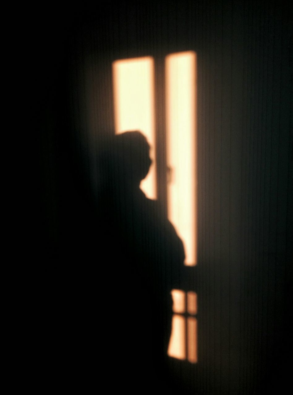 curtain, dark, indoors, window, drapes, solitude, shadow, one person, people, adult