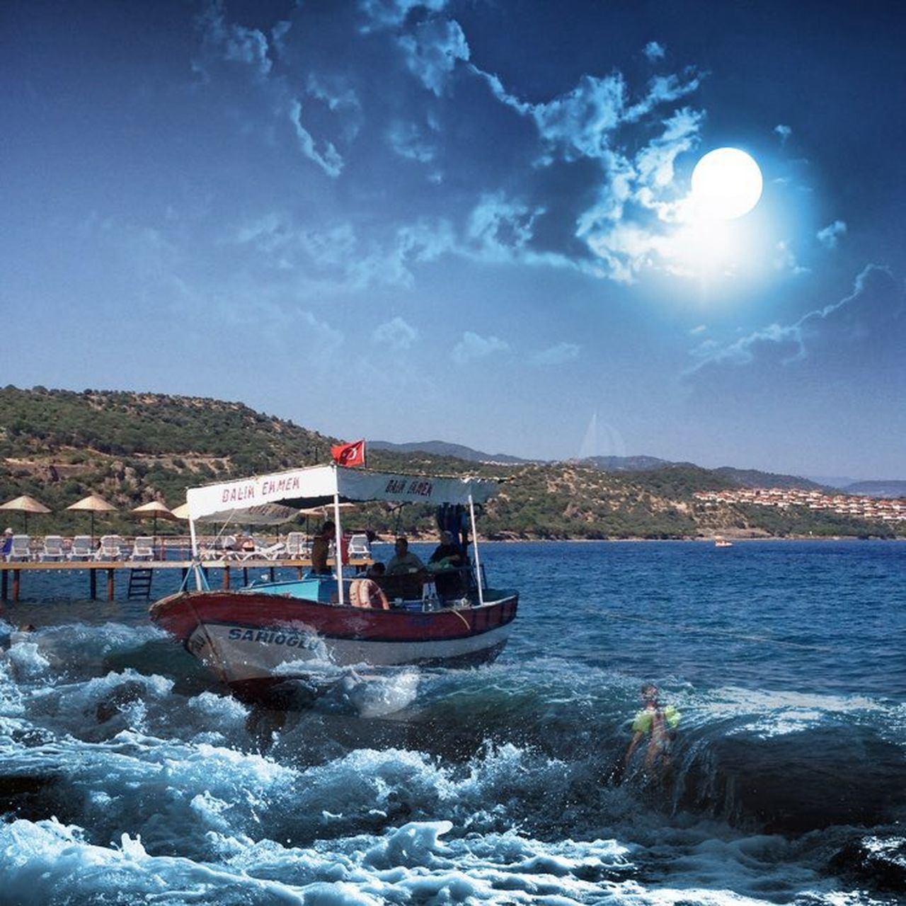 transportation, nautical vessel, sky, water, real people, day, outdoors, nature, men, mountain, sea, architecture, people