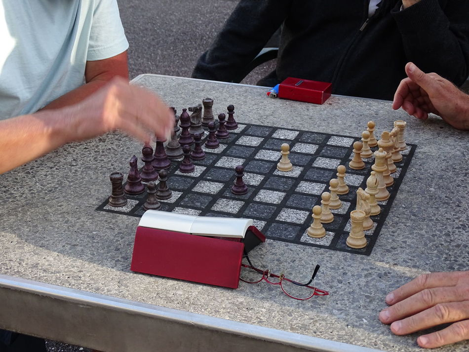 Aix Les Bains Chess Board Chess Outdoors Chessgame Chesspieces Game Outside Human Hand Occupation