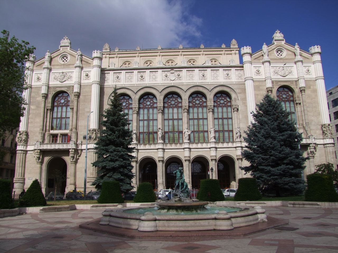 Vigado Concert Hall, Vigado Square Blue Sky White Clouds Budapest Composition Hungary Sunlight Trees Arches Architectural Columns Architecture Building Exterior Building Facade Built Structure Capital City Concert Hall  Exterior Façade History Low Angle View Music Hall No People Outdoor Photography Tour Attraction Travel Destination Vigado Concert Hall Vigado Square