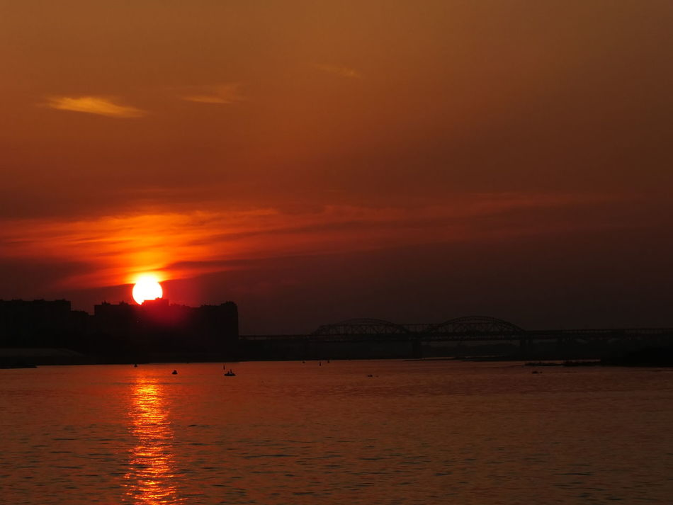 #bridge #City #clouds  #evening #Nizhny_Novgorod #river #russia #sky