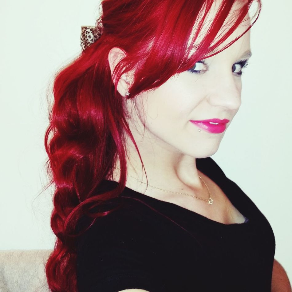 Rocking Red Red Hair Hot Pink Lips