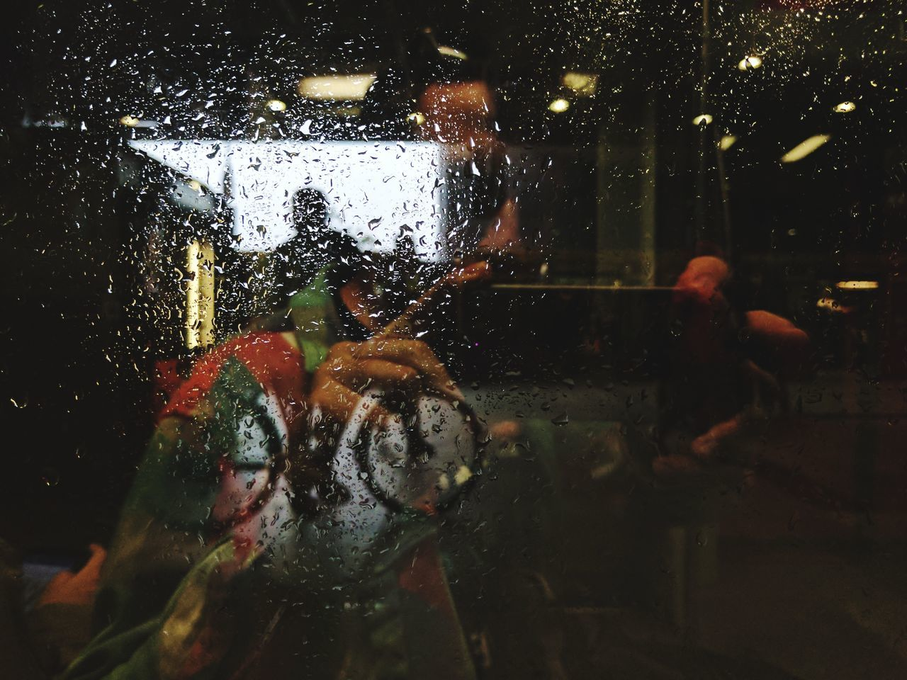 It's a Summer Rain // Water Wet Real People Indoors  Window Adult Lifestyles Underwater Day People Close-up One Person Raindrops Bicycle Silhouette