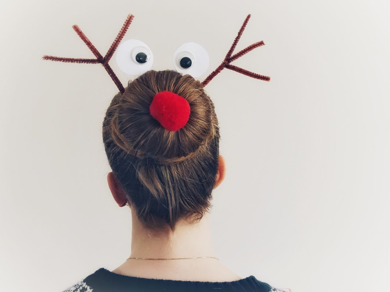 Funny Hairstyle Funny Hair Hairstyles Hair Bun Bun One Person Rear View Real People Headshot White Background Studio Shot Women Indoors  Close-up Day People Hairdo Red Nose Christmas Blond Hair Stylish Hairstyle Hair Reindeer Rudolph