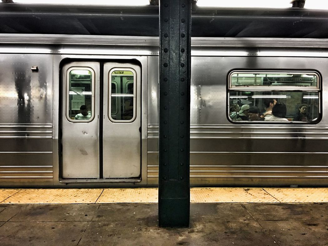 New York City subway. Day Journey Land Vehicle Manhattan Mode Of Transport New York City No People Passenger Train Public Transportation Rail Transportation Railroad Station Railroad Track Stationary Subway Subway Car Train Train - Vehicle Transportation