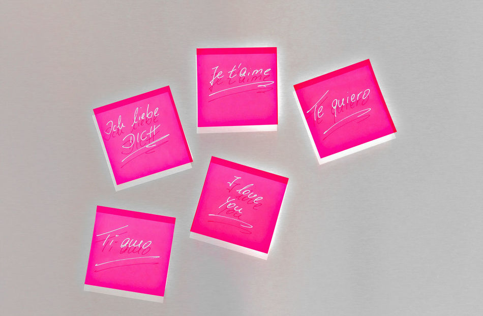 Close-up Copy Space Day Envelope Grey Background Handwriting  I Love You Ich Liebe Dich Illuminated Indoors  Je T'aime Large Group Of Objects Love Millennial Pink No People Paper Pink Color Postits Studio Shot Te Quiero Text Ti Amo