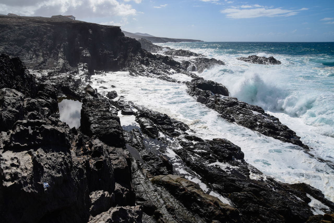 Beach Beauty In Nature Beauty In Nature Canary Islands Cliff Day Fuerteventura Horizon Over Water Landscape Nature No People Ocean Ocean Waves Outdoors Rocks And Water Scenics Sea Sky Tourism Water Wave